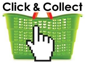 Green shopping basket click and collect icon