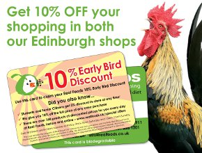 Early Bird discount card and cockerel picture