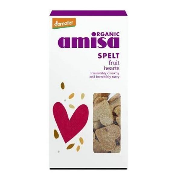 Spelt Fruit Hearts Biscuits dairy free, no added sugar, ORGANIC