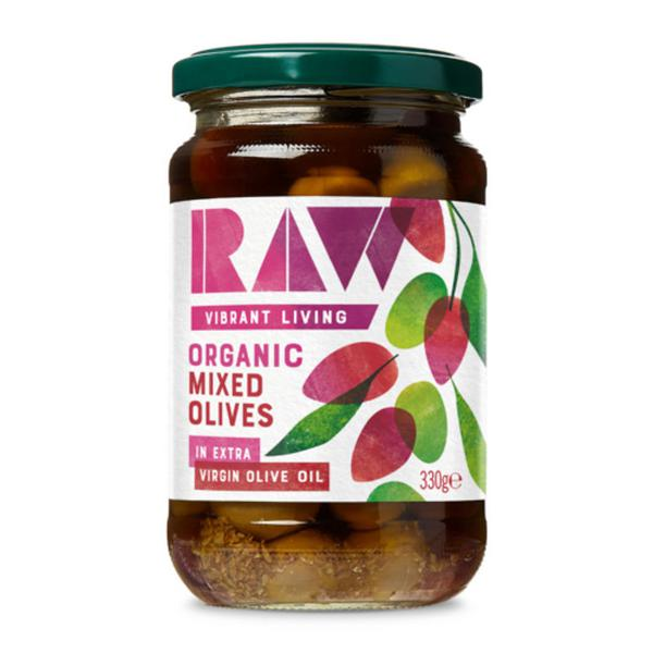 Mixed Green & Kalamata Olives in Raw Extra Virgin Olive Oil ORGANIC