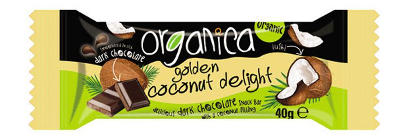 Golden Coconut & Dark Chocolate Snackbar Vegan, ORGANIC