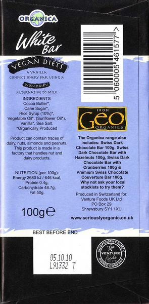 White Chocolate Gluten Free, Vegan, FairTrade, ORGANIC image 2