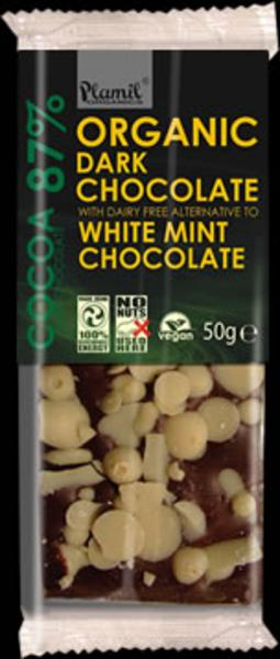 Dark White Chocolate With Mint 87% Gluten Free, Vegan, ORGANIC