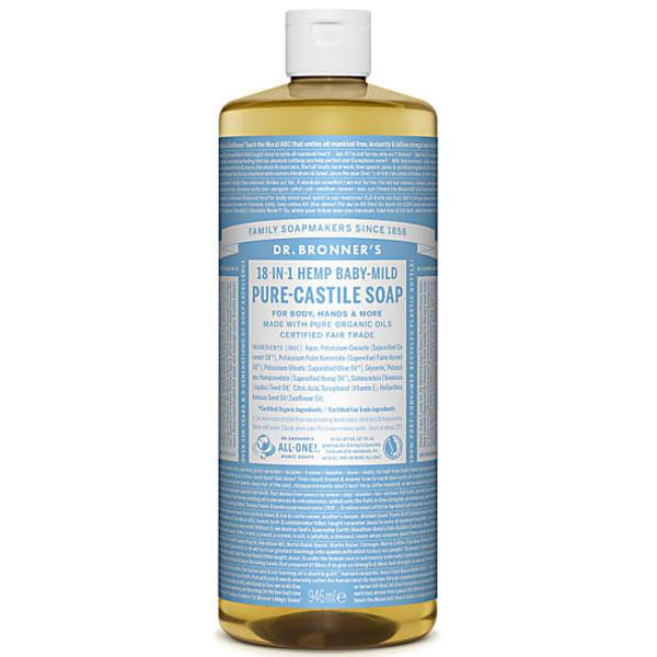 Unscented Baby Mild Castile Liquid Soap Vegan, FairTrade, ORGANIC