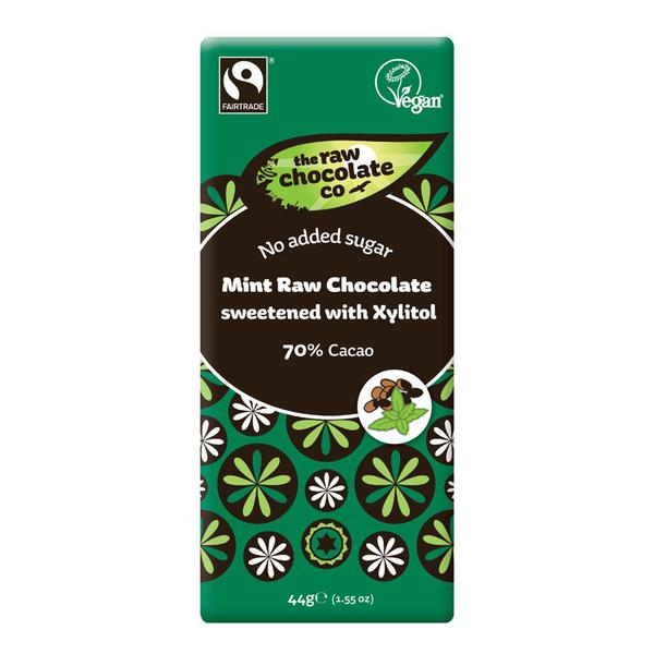 70% Mint Raw Chocolate With Xylitol , Vegan, FairTrade