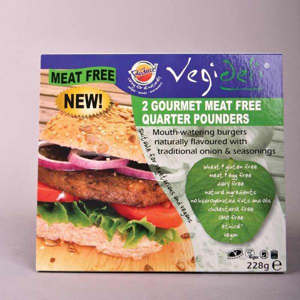 Quarterpound Meat Free Vegeburger dairy free, Gluten Free, added sugar, Vegan