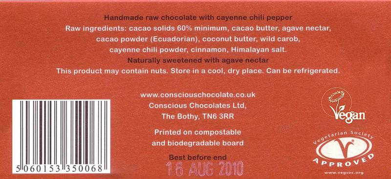 Chilli Hot Raw Chocolate Gluten Free, no added sugar, Vegan, ORGANIC image 2