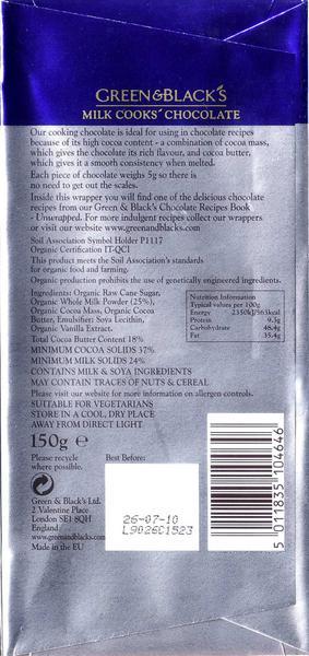 37% Cooking Milk Chocolate FairTrade, ORGANIC image 2