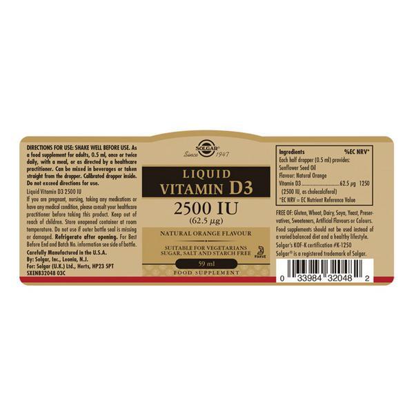 Liquid Vitamin D 3 2500iu Gluten Free, Vegan, wheat free image 2