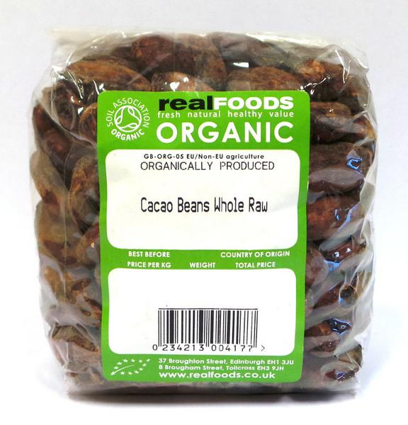 Organic Cacao Beans Whole Raw From Real Vitality