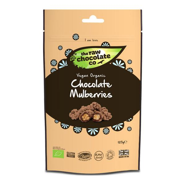 Raw Chocolate Coated Mulberries FairTrade, ORGANIC