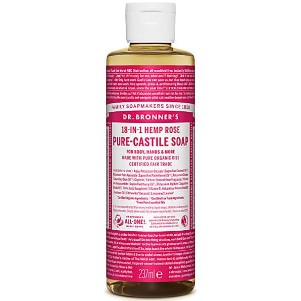Rose Castile Liquid Soap Vegan, FairTrade, ORGANIC