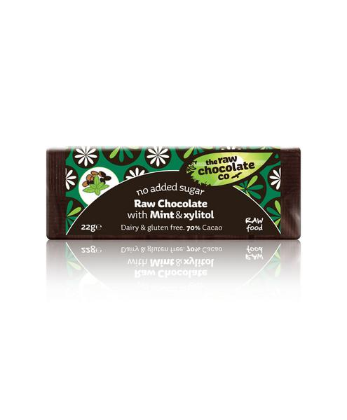 Mint Xylitol Mini Raw Chocolate No Gluten Containing Ingredients, Vegan