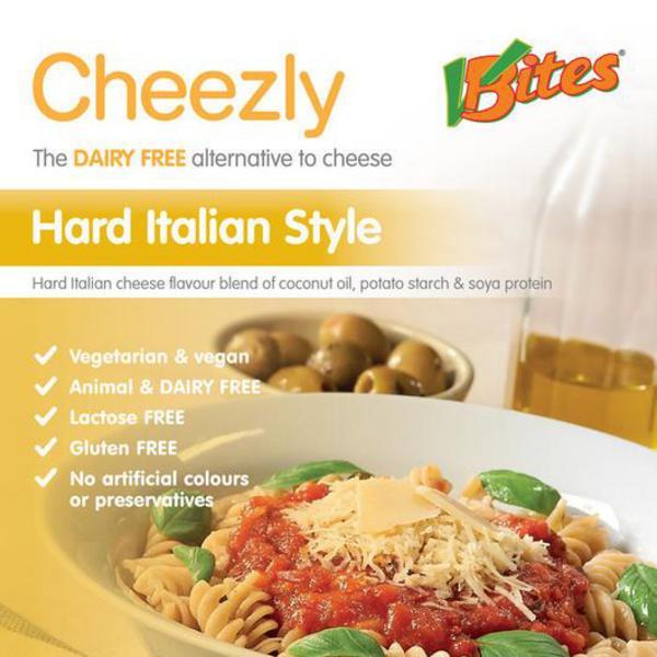 Hard Italian Style Dairy Free Cheese Cheezly dairy free, Vegan