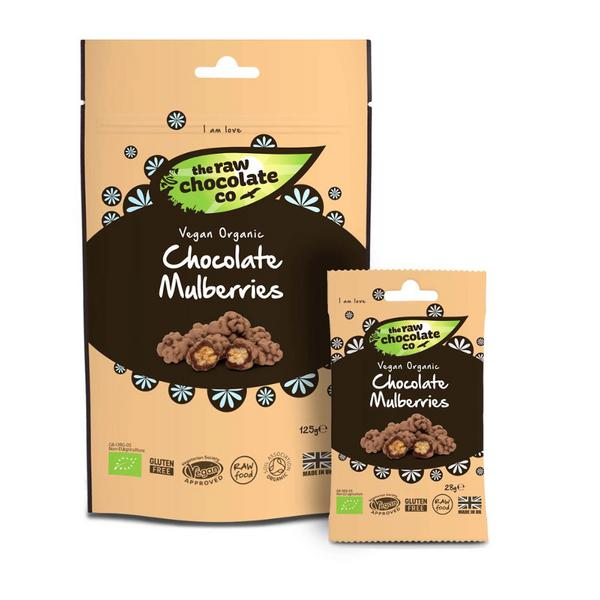 Raw Chocolate Coated Mulberries No Gluten Containing Ingredients, FairTrade, ORGANIC