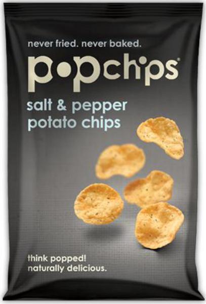 Salt and pepper popped potato crisps in 23g from pop chips