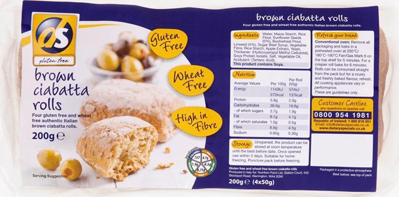 Brown Ciabatta Roll Gluten Free