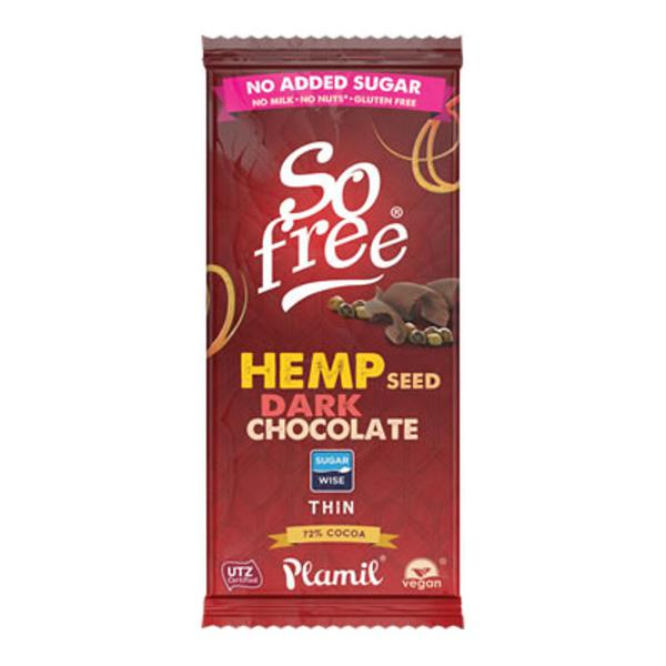 Chocolate With Shelled Hemp Seed Gluten Free, no added sugar