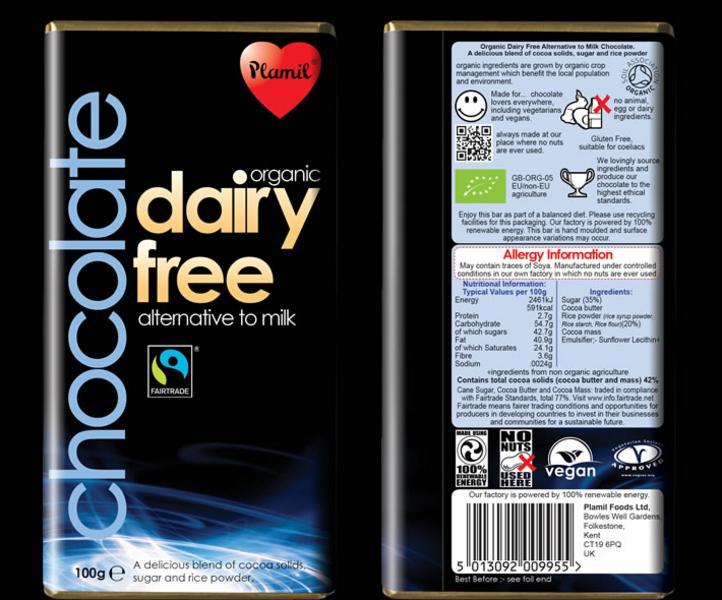 Alternative to Milk Chocolate Gluten Free, Vegan, FairTrade, ORGANIC