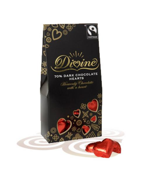 70% Dark Chocolate Hearts FairTrade