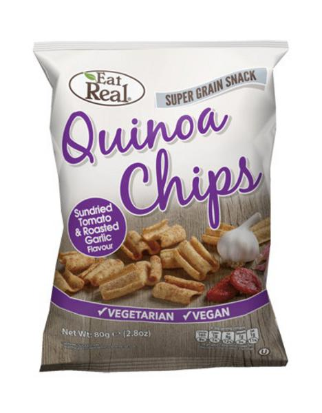 Sun-Dried Tomato & Roasted Garlic Quinoa Chips , wheat free