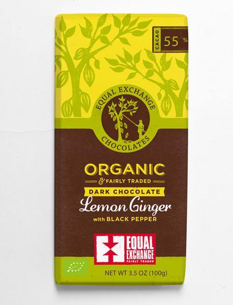 Lemon,Ginger & Black Pepper 55% Dark Chocolate Gluten Free, Vegan, FairTrade, ORGANIC