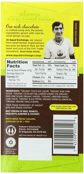 Lemon,Ginger & Black Pepper 55% Dark Chocolate Gluten Free, Vegan, FairTrade, ORGANIC image 2