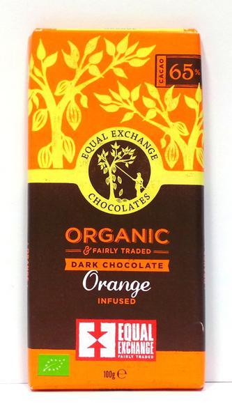 Orange 65% Dark Chocolate Gluten Free, Vegan, FairTrade, ORGANIC