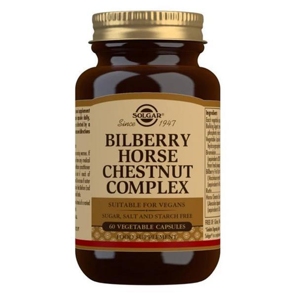 Bilberry Horse Chestnut Complex Gluten Free, salt free, sugar free, Vegan, yeast free