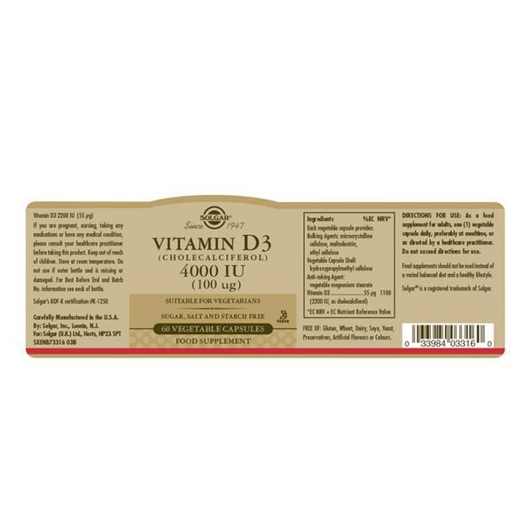 Vitamin D3 4000iu dairy free, Gluten Free, salt free, sugar free, yeast free image 2