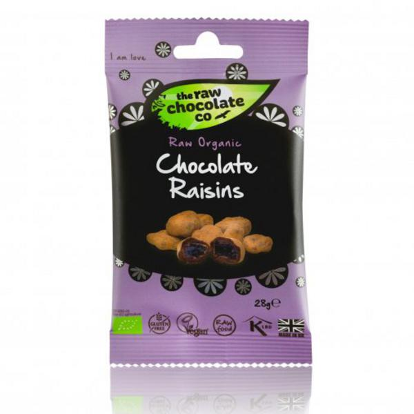 Raw Chocolate Coated Raisins Snack Pack , ORGANIC