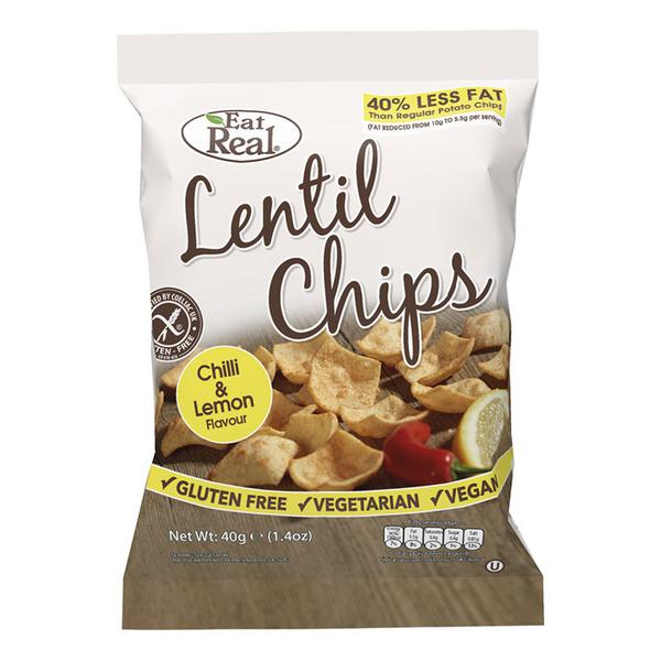 Chilli & Lemon Lentil Chips No Gluten Containing Ingredients, Vegan, wheat free