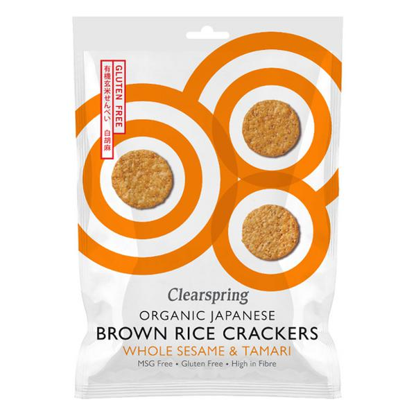 Whole Sesame Rice Crackers Gluten Free, Vegan, wheat free, ORGANIC