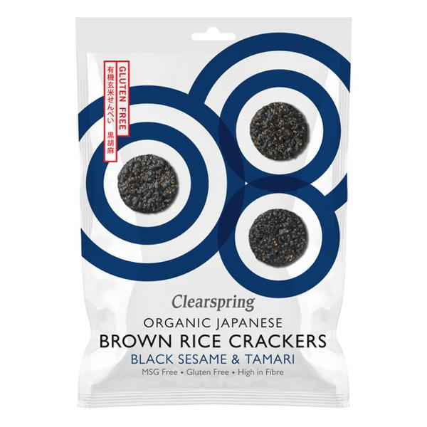Black Sesame & Brown Rice Crackers Gluten Free, wheat free, ORGANIC