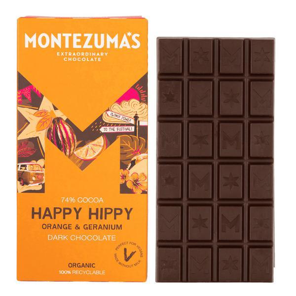Happy Hippy Geranium & Orange Dark Chocolate dairy free, Gluten Free, Vegan, ORGANIC