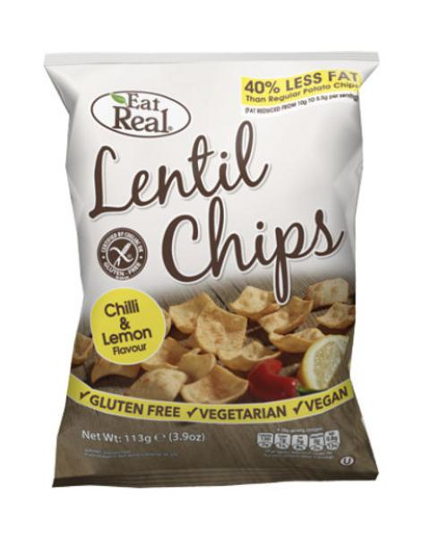 Chilli & Lemon Lentil Chips Gluten Free, Vegan