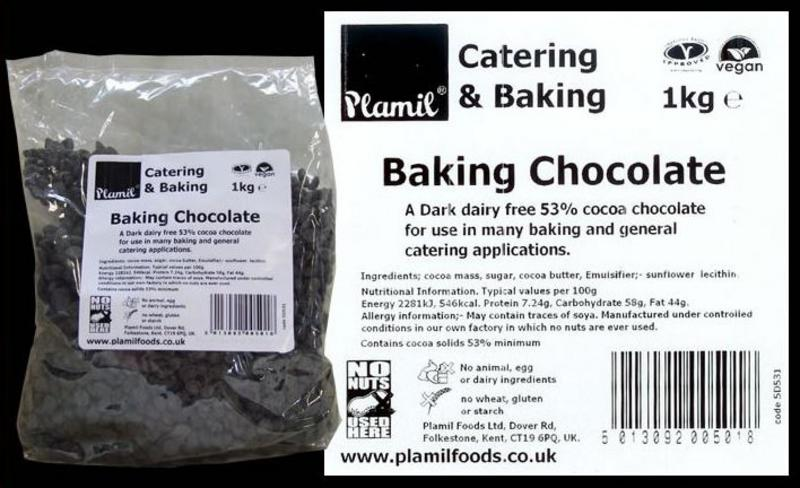 Free From Baking Chocolate Drops Gluten Free, Vegan