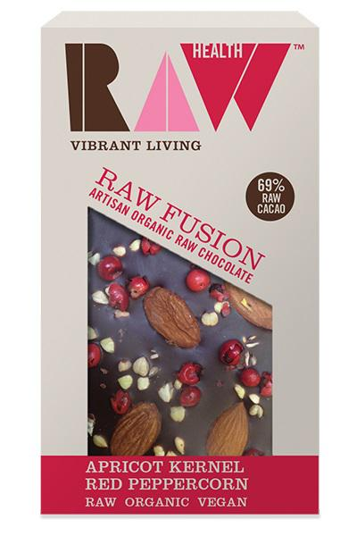 Apricot Kernel & Red Peppercorns Fusion Raw Chocolate Vegan, ORGANIC