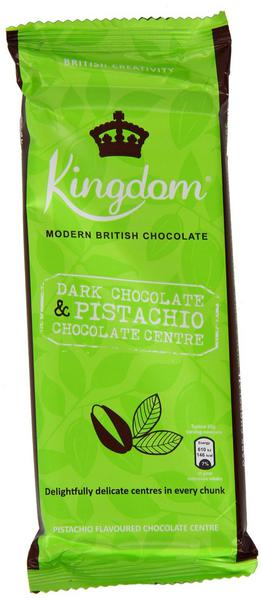 Pistachio Dark Chocolate in 100g bar from Kingdom Chocolate