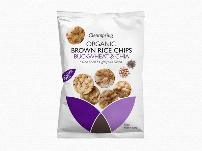 Buckwheat & Chia Brown Rice Chips Gluten Free, sugar free, ORGANIC