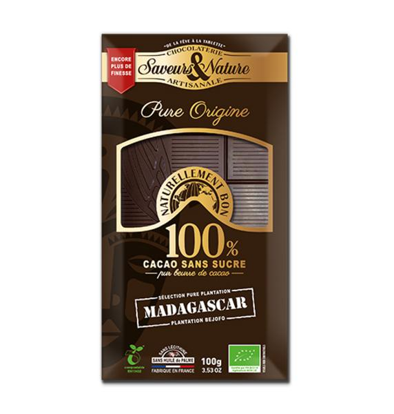 100% Cocoa Dark Chocolate Madagascar sugar free, ORGANIC