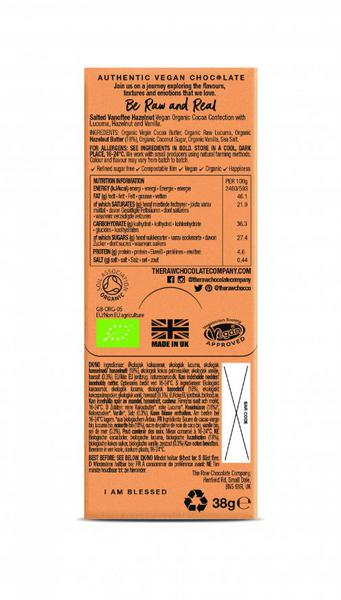 Salted Vanoffee & Hazelnut Raw Chocolate Bar Vegan, ORGANIC image 2