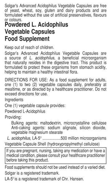 Advanced Acidophilus Probiotic dairy free, Gluten Free, Vegan image 2