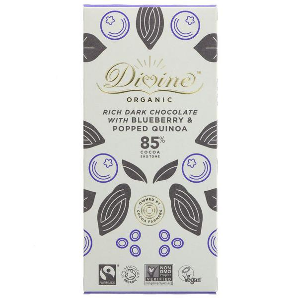 Blueberry & Quinoa 85% Dark Chocolate Vegan, FairTrade, ORGANIC