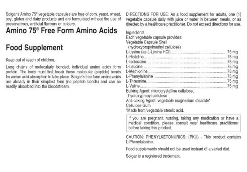Amino Acid Amino 75 Supplement Gluten Free, Vegan image 2
