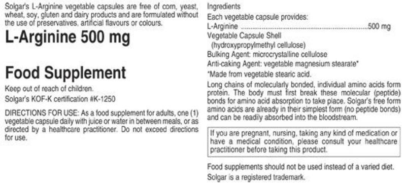 L-Arginine Amino Acid 500mg Vegan image 2