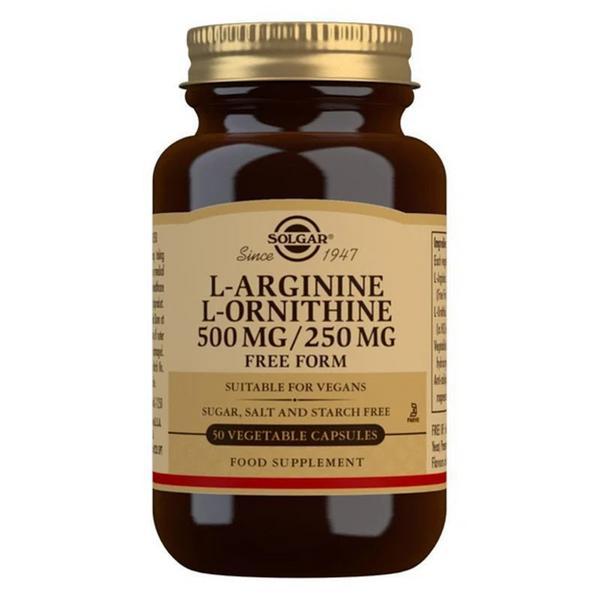 L-Arginine 500mg L-Ornithine 250mg Amino Acid dairy free, Gluten Free, Vegan