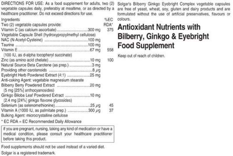 Bilberry,Ginkgo & Eyebright Antioxidants Complex Gluten Free, Vegan image 2