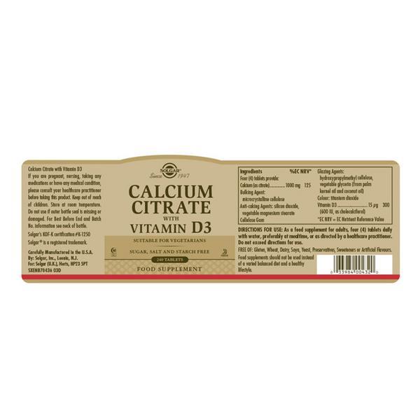 Calcium Citrate With Vitamin D3 Gluten Free image 2