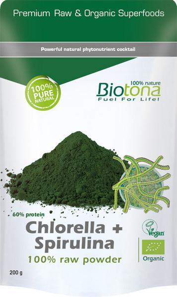Chlorella & Spirulina 100% Raw Powder Vegan, ORGANIC